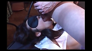 Jap girlfriend in stockings mouth fucked and pussy fingered